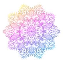 Vector Ornamental Lotus Flower, Ethnic Art, Patterned Indian Paisley. Hand Drawn Illustration. Invitation Element.