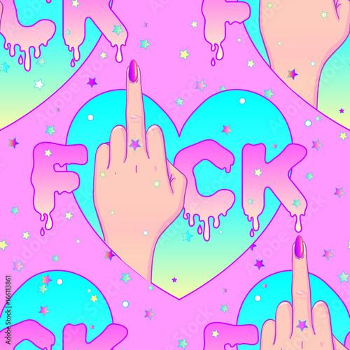 Stoffe zum Nähen Weibliche Hand Mittelfinger zeigen. Feminismus-Konzept. Realistischen Stil-Vektor-Illustration in rosa Pastellfarben Goth isoliert auf weiss. Aufkleber, Patch, Plakat-Grafik-Design.
