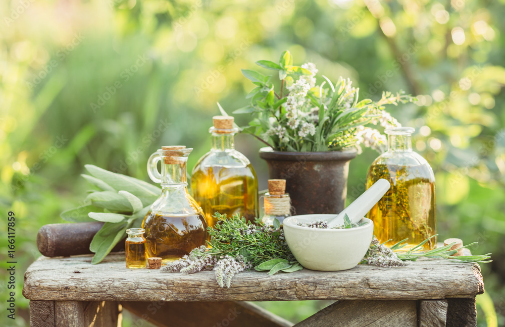 Fototapety, obrazy: Medicinal plants and oils for massage