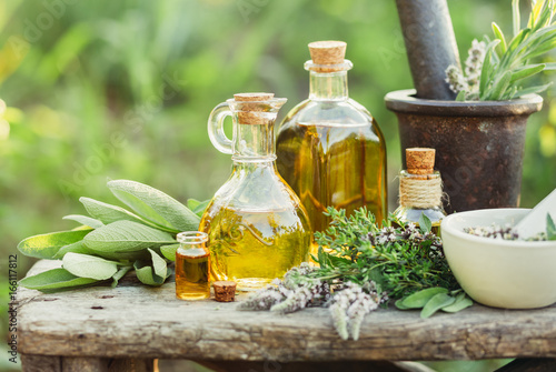 Herbs and oils for massage фототапет
