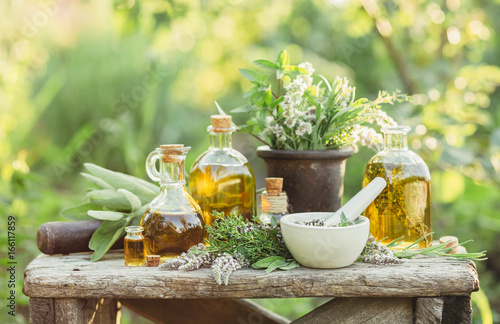 Medicinal plants and oils for massage фототапет