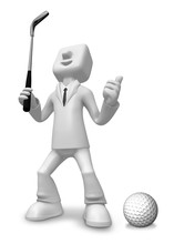 3D Business Man Mascot Golfer ...