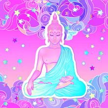 Sitting Buddha Over Sacred Geometry Background. Vector Illustration. Psychedelic Neon Composition. Indian, Buddhism, Spiritual Tattoo, Yoga, Spirituality.