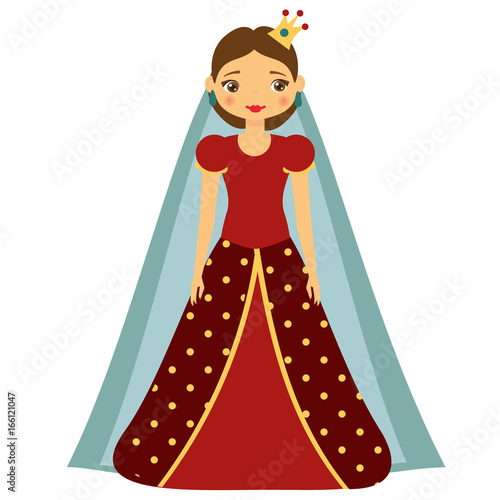 Cute kawaii fairy tale princess in red dress and crown. Girl in queen costume. Cartoon style vector illustration
