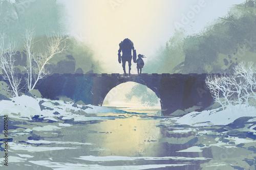 robot i dziewczynka stojący na moście w zimie, cyfrowy styl, ilustracja malarstwo