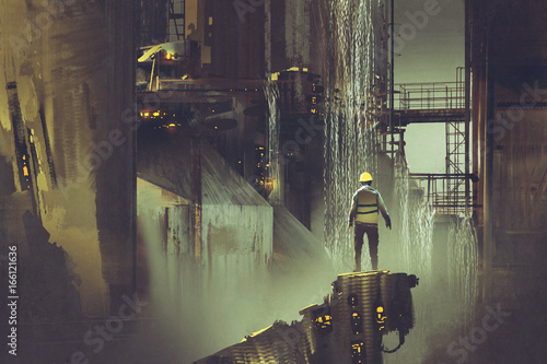 Tuinposter Dam scene of the engineer standing on a platform looking at futuristic dam, digital art style, illustration painting
