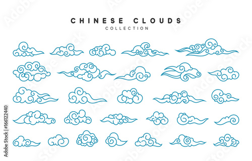Collection of blue clouds in Chinese style. Canvas Print