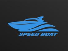 Speed Boat Logo On A Dark Back...