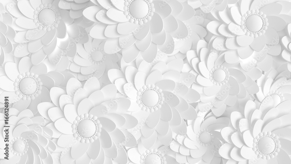 Beautiful, elegant paper flower in the style of hand-made on a white wall. 3d illustration, 3d ..rendering.