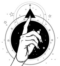 Female Hand Pointing On Something With Forefinger. Sacred Geometry Design Elements. Alchemy, Philosophy, Spirituality Symbols. Black, White Vector Illustration In Vintage Style