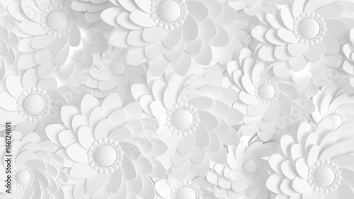 Fototapeta Beautiful, elegant paper flower in the style of hand-made on a white wall. 3d illustration, 3d ..rendering. obraz