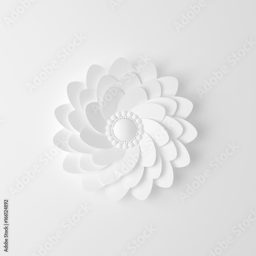 Fototapety, obrazy: Beautiful, elegant paper flower in the style of hand-made on a white wall. 3d illustration, 3d ..rendering.