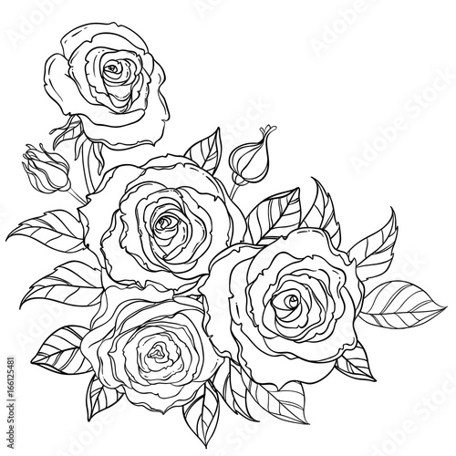 Black and white tattoo style roses with leaves isolated on white background. Vector illustrations. Romantic wedding elements. Valentine's day. #166125481