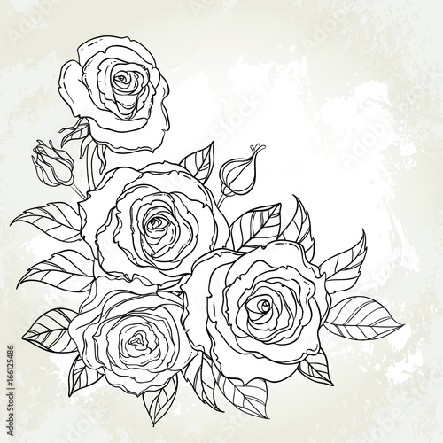 Black and white tattoo style roses with leaves isolated on white background. Vector illustrations. Romantic wedding elements. Valentine's day. #166125486