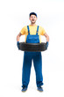Tire service handyman in uniform, white background