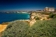 Wide angle shot of the pristine turquoise waters of Sagres Cape in Algarve, Portugal