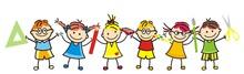 Happy Kids And School Supplies...