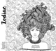 Zodiac: Illustration Of Aquarius Zodiac Sign As A Beautiful Girl. Vector Art With Portrait Of A Pretty Girl. Black, White Drawing Over Ornate Pattern.