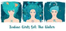 Zodiac Girls Set: Water. Vecto...