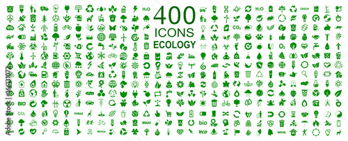 Fotografia  Set of 400 ecology icons – stock vector