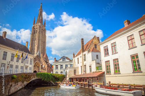 Church Of Our Lady and traditional narrow streets in Bruges (Brugge), Belgium