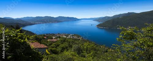 Valokuva  View over Maccagno to Lake Maggioreo - Maccagno, Lake Maggiore, Varese, Lombardy