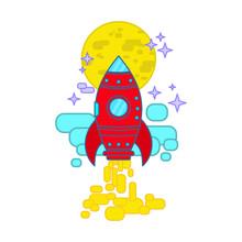 Space Rocket Flying In Sky, Fl...