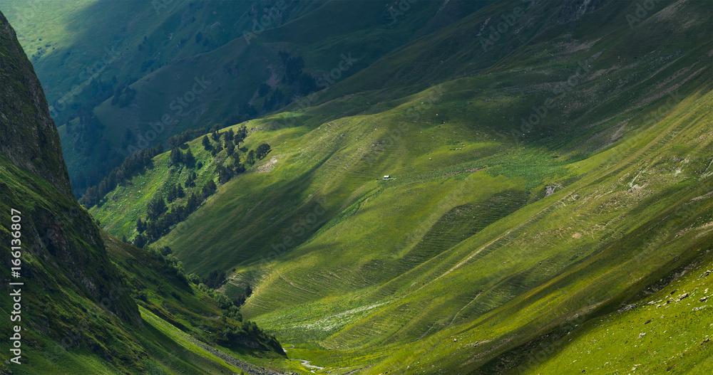 Fototapety, obrazy: Picturesque mountain emerald valley of river Zagedanka. Caucasus mountains.