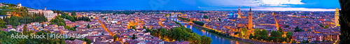 Poster Prune Verona old city and Adige river panoramic aerial view at evening