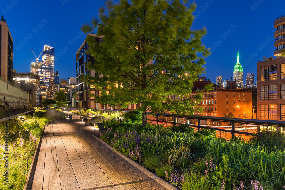 Fototapety, obrazy: High Line promenade at twilight with city lights and illuminated skyscrapers. Chelsea, Manhattan, New York City