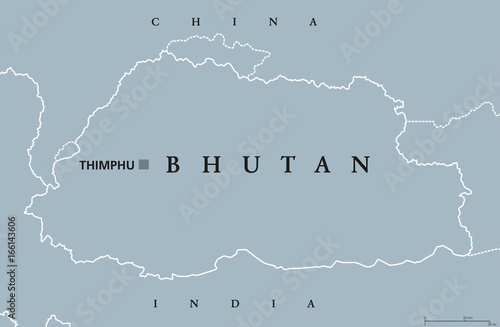 Bhutan Political Map With Capital Thimphu And Borders English