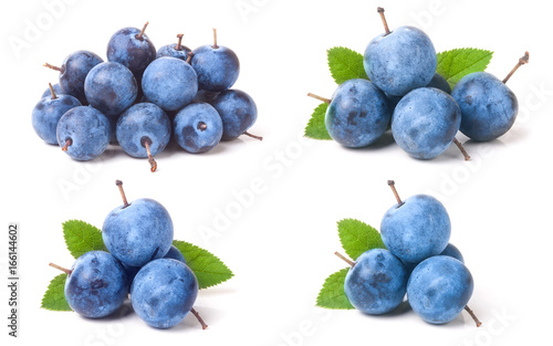 Photo fresh blackthorn berries with leaves isolated on white background