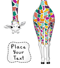 Vector Illustration Of Colorful Giraffe With Place For Your Text. Vector Illustration.