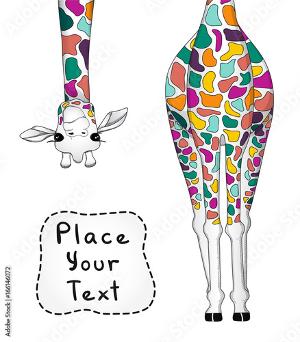 Photo  Vector illustration of colorful giraffe with place for your text