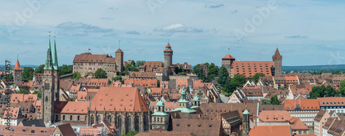 Panorama of the castle of Nuremberg and Sebaldus church on a sunny day