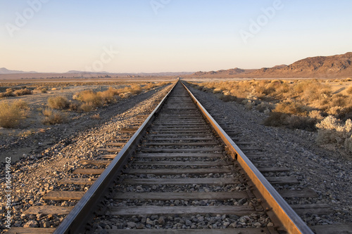 Railroad Railroad tracks at Trona Pinnacles in the California desert