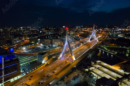 Photo  Aerial image Leonard P Zakim Bunker Hill Bridge at night