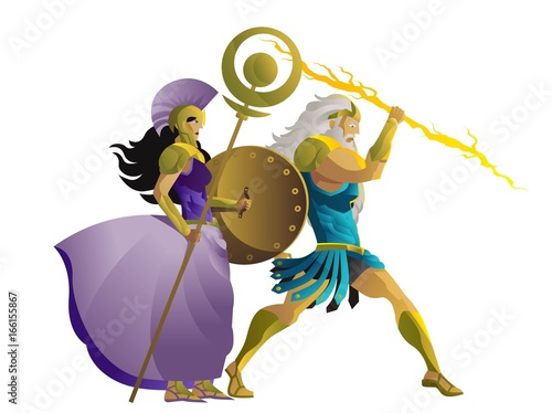 zeus jupiter and palas athena minerva greek roman mythology