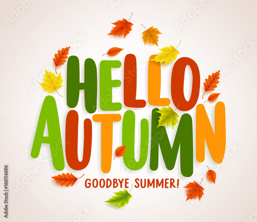 Hello autumn vector banner design with colorful maple leaves hello autumn vector banner design with colorful maple leaves elements and text greetings for fall season m4hsunfo