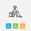 Vector Illustration Of Cleanup Symbol On Carpet Outline. Premium Quality Isolated Worker Element In Trendy Flat Style.