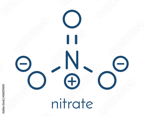 Photo Nitrate anion, chemical structure. Skeletal formula.