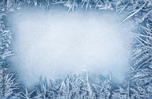 Ice frost frame - Winter background Fototapeta