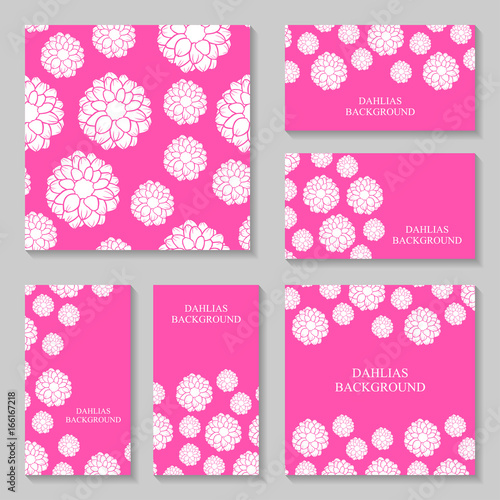 Canvas Print Dahlias flowers background set on pink background