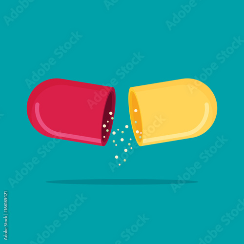 Flat vector open capsule pill isolated on color background Fototapeta
