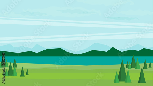 Photo Stands Turquoise Natural landscape. Vector illustration.