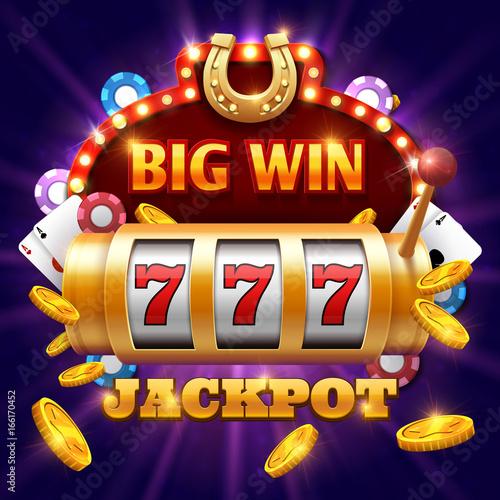 Fotografia Big win 777 lottery vector casino concept with slot machine