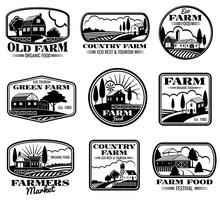 Vintage Farm Marketing Vector Logos And Labels Set