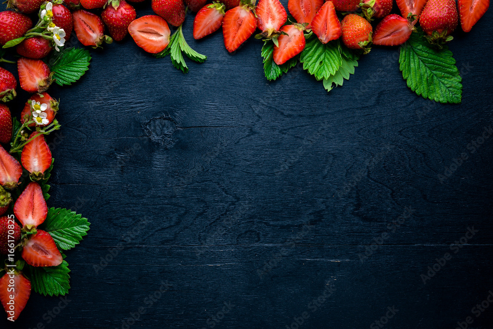 Fototapety, obrazy: Fresh strawberries. Healthy food. On Wooden background. Top view. Free space.