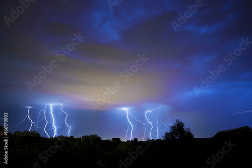 Keuken foto achterwand Onweer Thunder, lightning and storm in dark night sky