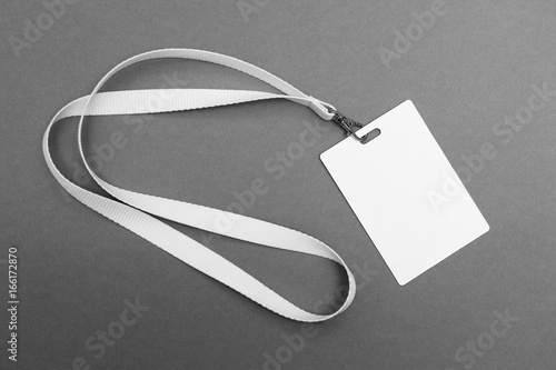 Blank badge with lanyard on grey background Canvas Print